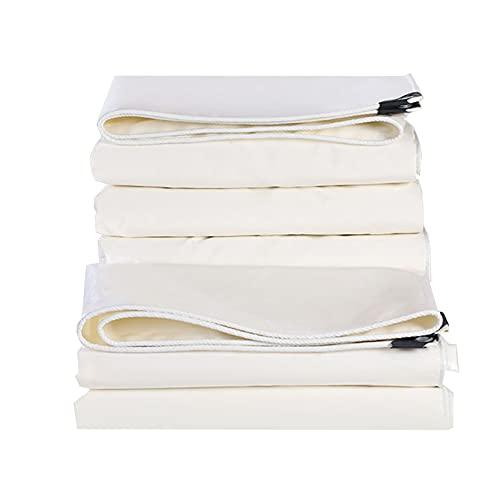 GXYAWPJ- Cubierta de Lona Impermeable con Ojales Multiusos para Muebles de Jardín Piscina Coche Camión Protección Resistente Al Desgarro Toldo Vela Tarea Pesada Blanco 500 G / M2 (Size:2×2m)