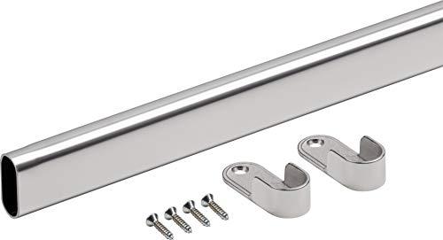 Metafranc Tubo per armadio 1200 mm – Acciaio di alta qualità – per il montaggio a parete laterale – con cuscinetto e viti, asta appendiabiti, 331819