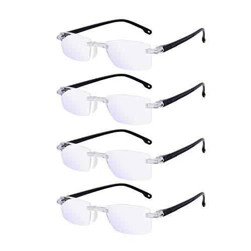 OCCI CHIARI Men's Blue Light Blocking Reading Glasses Computer Readers 0 100 150 200 250 300 350 400 500 600 (Black 2.5) 4 Pack