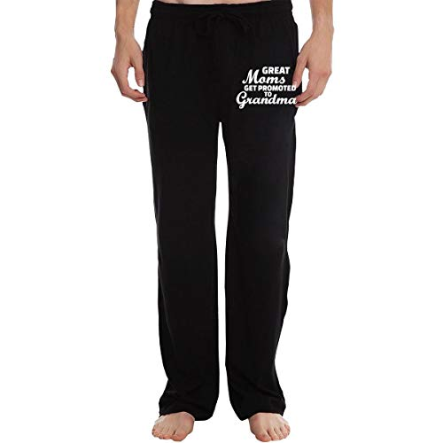PT35dw-3 Sweatpants for Men, Athletic Great Moms Get Promoted to Grandmas 100% Cotton Running Pants Black