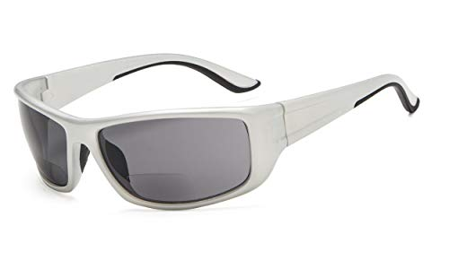 Eyekepper deportivas gafas de sol bifocales +1.50 rectangular marco gafas de sol de lectura (Plata Marco/Gris Lente)