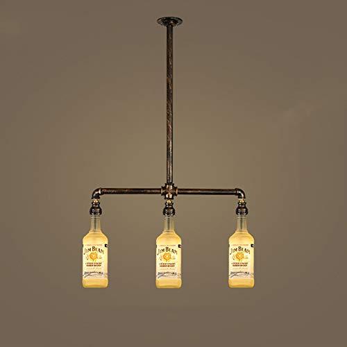 LCSD Lámpara de araña de vino marrón estilo retro industrial Feng Shui tubo botella de vino bar cafetería tienda de ropa restaurante bar luz de techo 55 x 80 cm