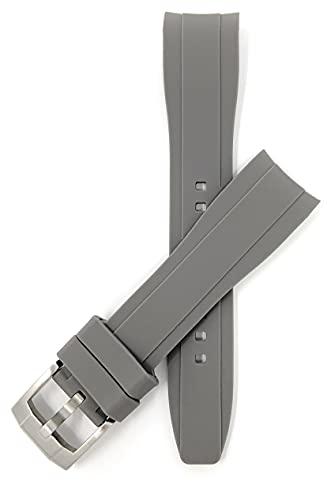 Bandini Correas de reloj de silicona, extremo curvado, correas de repuesto de goma suave, impermeables, hebilla de acero inoxidable, muchos colores, 18 mm, 20 mm, 22 mm