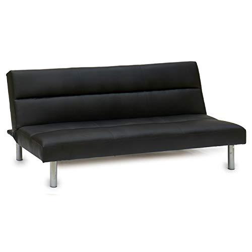 TU TENDENCIA ÚNICA Sofá Cama con 3 Plazas Abatible Fabricado en Cuero Sintético. Sistema de Apertura de Libro (Negro)