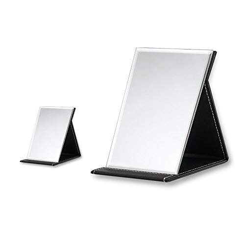 SITAKE 2Pcs Portable Leather Folding Makeup Mirror with Adjustable Stand for Travel, Office Desk, Vanity Table (Mini & L, Black)