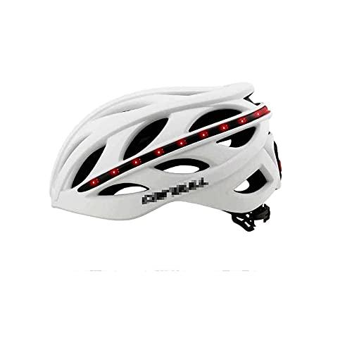 SCDJK Casco De Bicicleta para Hombre con Led Y Bluetooth, Casco Inteligente Ciclismo, MTB Mountain Bike Cicling Road Casco, Integrado, Recargable para Adultos Hombres/Mujeres(Color:Blanco)