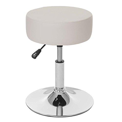 Mendler Hocker HWC-C22, Sitzhocker Schminkhocker, höhenverstellbar Ø 35cm - Kunstleder, Creme