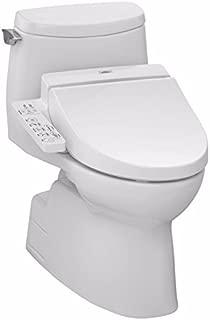 TOTO MW614584CUFG#01 WASHLET+ Carlyle II 1G One-Piece Elongated 1.0 GPF Toilet and WASHLET S350e Bidet Seat, Cotton White (Renewed)