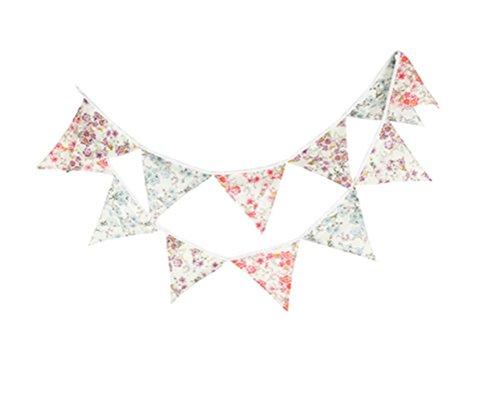 Tissu en coton imprimé fleurs Affe réutilisable 12 Drapeaux 3.3 M Guirlande fanion New Born Fête d'anniversaire Décoration de jardin