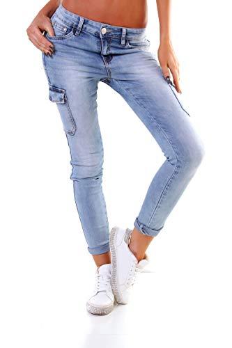 OSAB-Fashion 4575 Damen Jeans Röhrenjeans Hose Boyfriend Baggy Haremscut Slim-Fit Cargohose