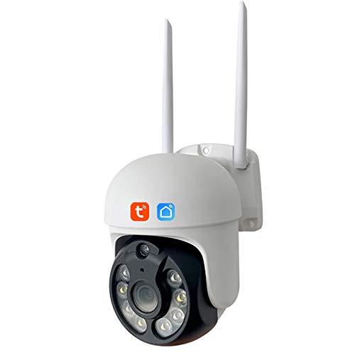 Tuya WIFI Cámara IP, cámara de video de seguridad PTZ de seguimiento automático impermeable IP66 para exteriores, vigilancia CCTV de visión nocturna de 3MP funciona con Alexa,Camera + 64g card