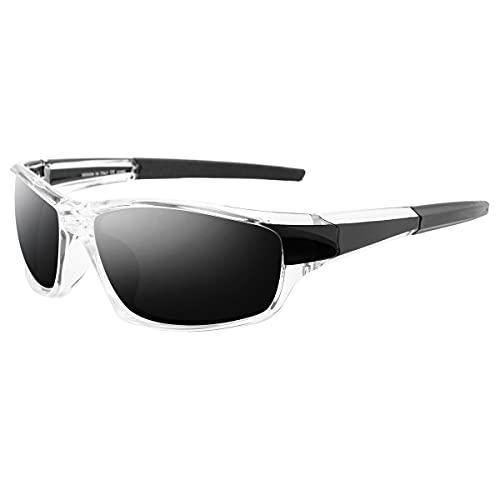 Grainas Gafas de sol deportivas polarizadas para hombre y mujer, para ciclismo, esquí, conducción, pesca, correr, senderismo, protección UV400, Blanco No.2,