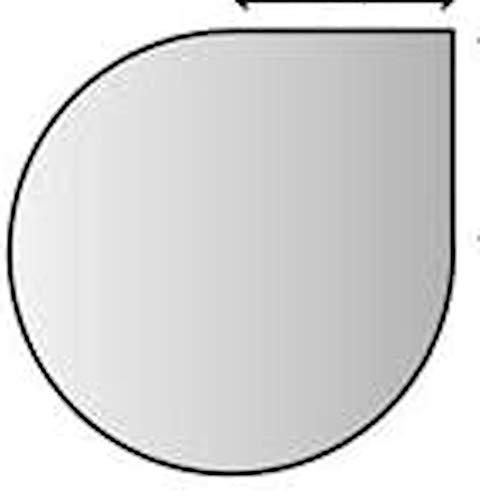 Lienbacher Glasbodenplatte,Stärke 8 mm, Fase 20 mm,110 x 110 / 55 x 55 cm,Tropfenform