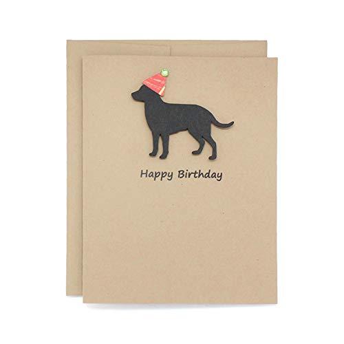 Black Labrador Retriever Birthday Card | Handmade Black Lab Birthday Greeting Card | Blank Inside | Black Dog Birthday Greeting