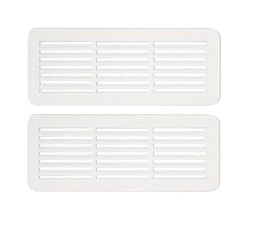 2 Rejilla de ventilación para puerta, doble cara opaca de 150x 60mm,de plástico ASA de alta calidad, parabaño y cocina, color blanco