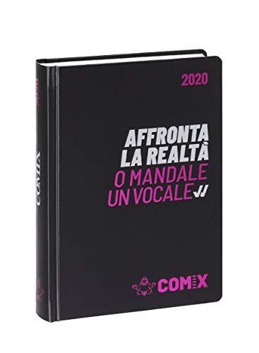 Comix Diario 2019/2020 datato 16 mesi, formato Mini 11x15.3 cm, nero scritta argento fucsia