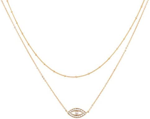 Mevecco Gold Dainty Layered Evil Eye Necklace 18K Gold Plated Cute Delicate Tiny White Cubic product image