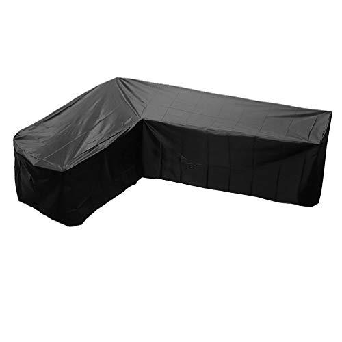 NONE Cubierta de Sofá Al Aire Libre a Prueba de Polvo a Prueba de Polvo en Forma de V Conjunto de Salón Protector de Muebles para Patio de Jardín 215X215 Cm (Negro)