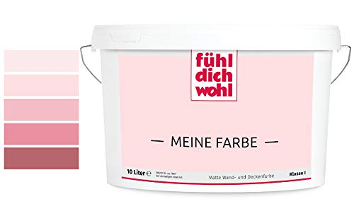 Fühl Dich Wohl Meine Farbe rosa, matte Wandfarbe rosa, hohe Deckkraft, verschiedene Rosafarbtöne zur Auswahl (2,5L, Lachsrosa E1-42)