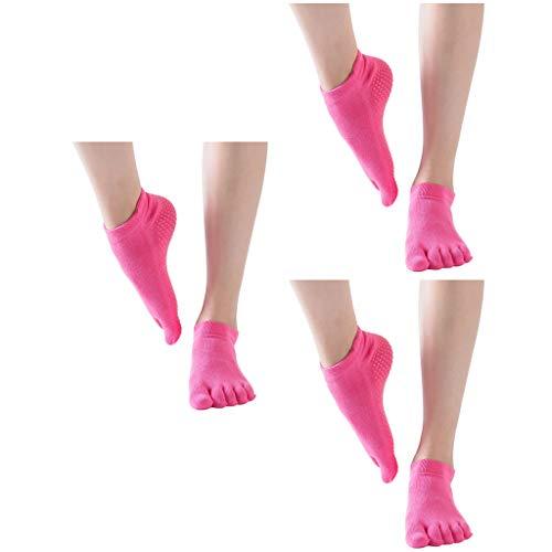 cinnamou 3 Paare Frauen Yoga Socken Frauen Ballettsocken Tanzende Socken Toe Socken Rutschfeste Socken Damen 5 Finger Socken Yoga Socken Anti Rutsch Socken Damen Ballett Bodensocken