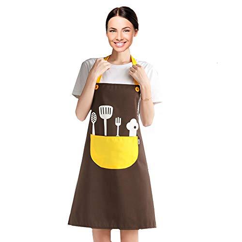 Delantales de Cocinero, Chefs Cocina Delantal con Correas de Cuello Ajustable y Bolsillos, para Las Mujeres con Bolsillo para Cocina Hogar.[Flor] …