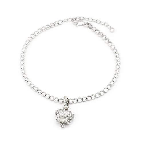 IF jewelry Bracciale Braccialetto In Argento 925 Palline Ciondolo Campanella Sonaglio Portafortuna Rodiato Con Zirconi BR01 bianco
