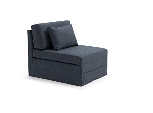 Sienta-T Sofá-Cama Individual, 1 Plaza, con Mecanismo Abre fácil. Tapizado en Tela Color Azul Marino, Oscuro. 80 x 105/200 x 86 cm (Largo x Fondo x Alto). Incluye cojín.