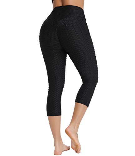 Women High Waist Textured Yoga Capris Butt Lift Leggings Stretch Scrunch Tights Black, Large