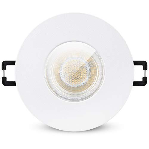 linovum ISAWO Einbauleuchte LED Badezimmer in weiß mit IP65 Schutz - LED GU10 6W warmweiß 230 Volt - Badeinbaustrahler rund