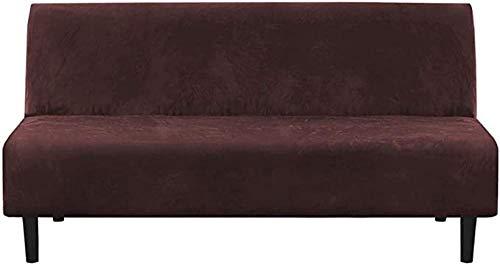 DYWLQ Felpa, 1 Pieza, futón, Funda elástica para sofá, Funda para sofá sin Brazos, Protector de Muebles con Base elástica, Resistente al Deslizamiento, marrón