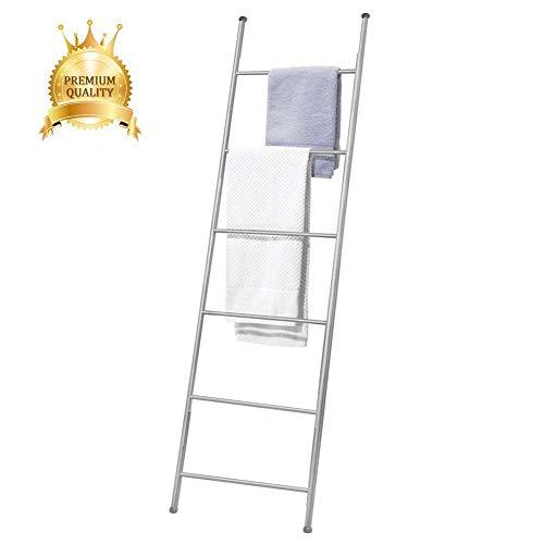 M-TOP Deken Ladder Rack Wandleunende Ladder Handdoek Rack 6 Bar Bad Handdoek Ladder Kleding Droogrek Gratis Staande Bad Handdoek Ladder Opslag Organisatie voor Badkamer, Slaapkamer