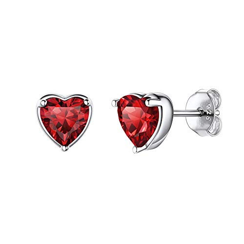 Shuxin Silver Stud Earrings for Women, 925 Sterling Silver Heart Stud Earrings, Silver January Birthstone Stud Earrings for Girls, 7mm Small Sleeper Cartilage Tragus Studs, Gift for Birthday Christmas