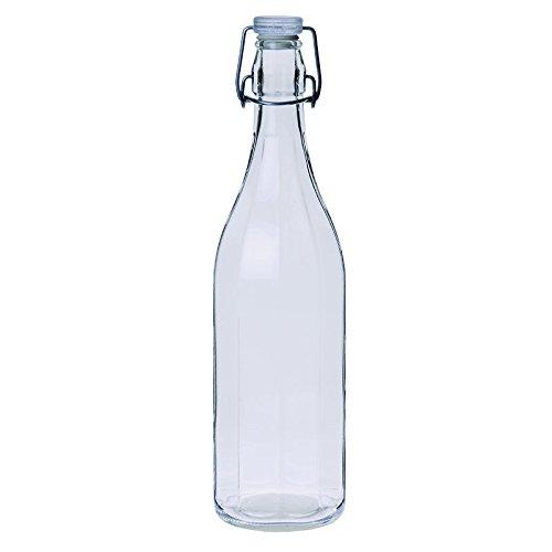 Excelsa Bottiglia Costolata, 1 Litro, Vetro, Trasparente