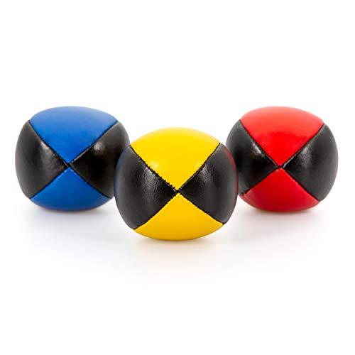 3er Set Diabolo Premium Jonglierbälle - 62mm Ø ✓ Jonglierball Füllung aus hochwertiger Vogelhirse ✓ Wasserabweisend ✓ Robustes Kunstleder I Jonglier-Set zur Jonglage für Kinder & Anfänger
