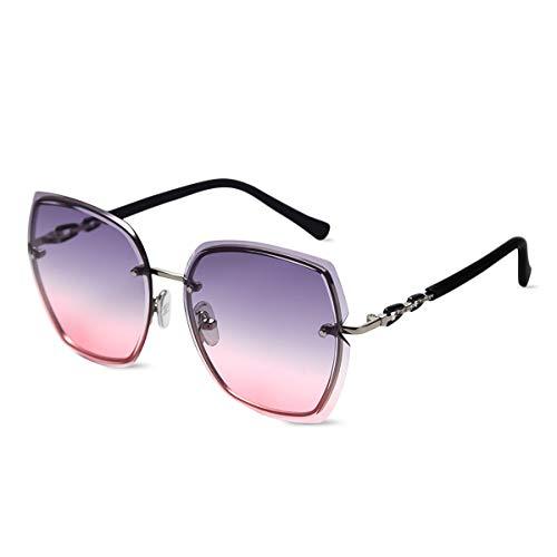 LumiSyne Gafas De Sol Sin Montura Mujer De Gran Tamaño Anteojos Gradiente Transparente Templo De Diamantes De Imitación UV400 Gafas De Sol Sin Marco(Gris rosa)