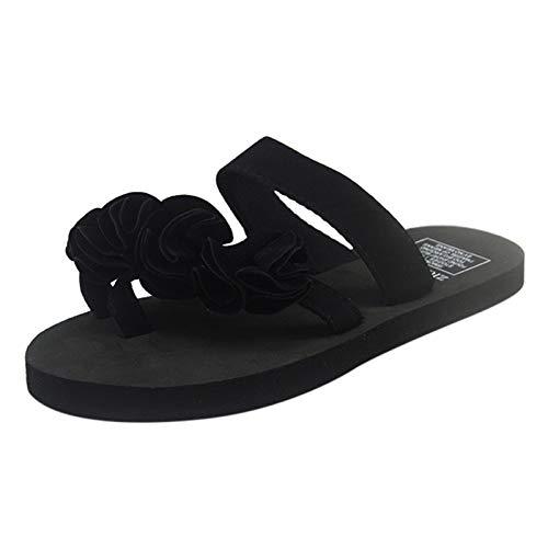 Xmiral Slipper Damen Flip-Flops Sandalen Blumen Schuhe Home Outdoor Strand Slippers(38,b-Schwarz)