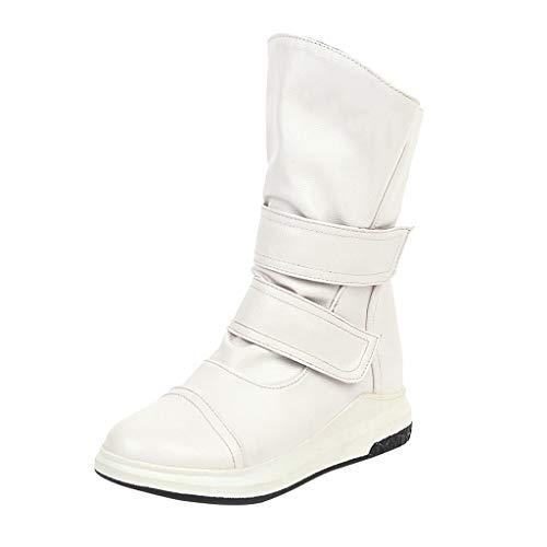 MOTOCO Stiefel für Frauen Fashion Velcro Mid Calf Pure Color Round Toe Klettstiefel Flache Absätze Vintage-Schuhe(40 EU,Weiß)
