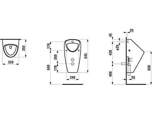 Laufen Absaugeurinal ohne Deckel Caprino Plus Zulauf von hinten ohne Fliege 320x350 weiß, Farbe: Weiß