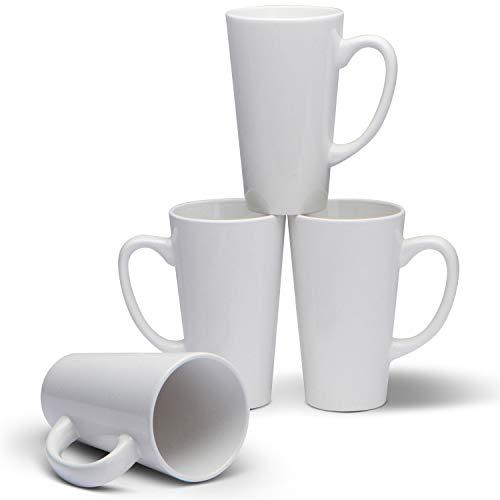 Serami 15oz White Funnel Ceramic Tall Coffee Mugs with Large Handles, Set of 4