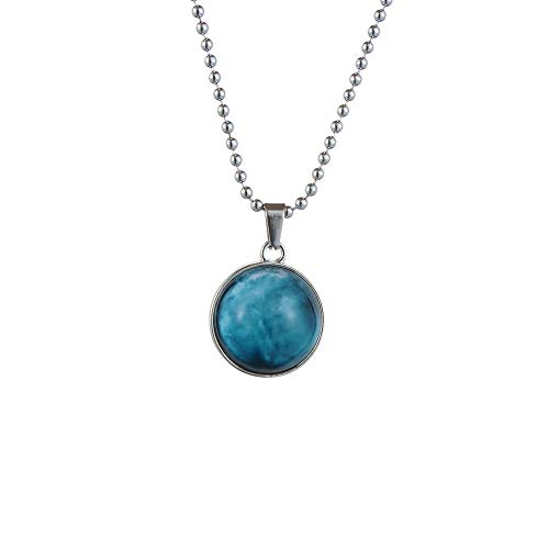 Personality Astronomy Fashion Long Chain Planet Pendant Double Side Glass Ball Galaxy Necklace(Uranus,Silver)