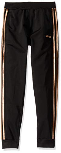 adidas Girls' Big Tricot Jogger Pant, Linear ADI Black with Copper, Large