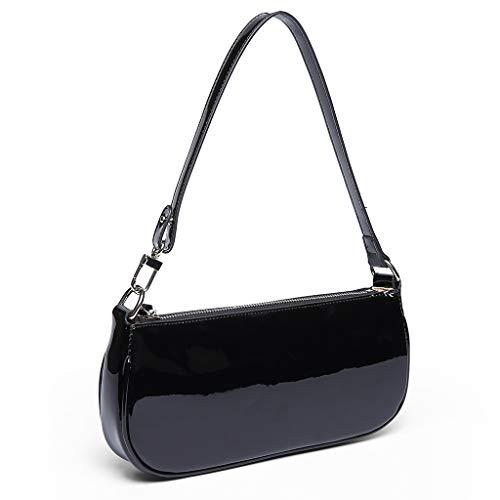 Retro Schultertasche für Frauen Ins Krokodil Muster Tasche, Schwarz (schwarz), Small