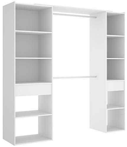Miroytengo Vestidor Armario ropero 2 cajones habitación Matrimonio Color Blanco Moderno Suit 200x50x205 cm
