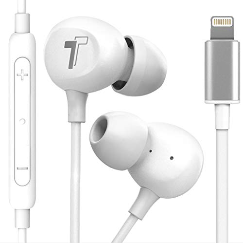 Thore Compatible with 2020 iPhone SE Earbuds (V60) Wired in-Ear Earphones (Apple MFi Certified) Lightning Headphones with Mic for iPhone 7/8 Plus, X, Xs Max, XR, 11/Pro Max, SE, 12, 12 Mini - White