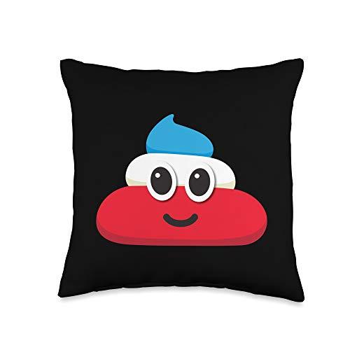 America Poop Emoji Shirts & Gag Gifts USA Poop Poo Red White & Blue Funny Emoji July 4th American Throw Pillow, 16x16, Multicolor