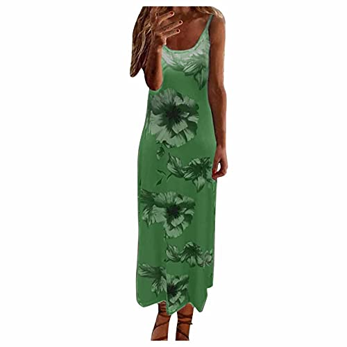 Aniywn Women's Long Dress Summer Sleeveless Spaghetti Straps Floral Print Casual Maxi Sundress Beach Party Dress Green