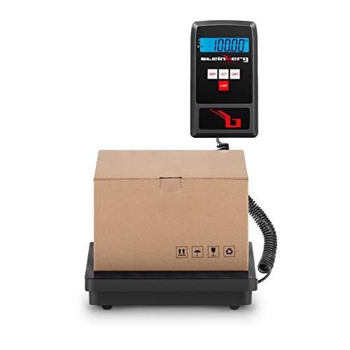 Steinberg Systems SBS-PF-100/10 PaketwaagePlattformwaage Digitalwaage (100 kg / 10 g, 23 x 23 cm, LCD Display, Koffer) Schwarz