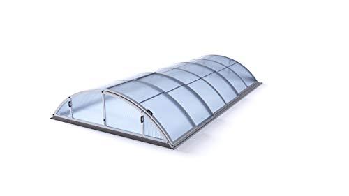 POOL EXKLUSIV Schwimmbadüberdachung/Pool-Überdachung/Poolabdeckung Basic, Silber eloxiert, Hohlkammerprofil 8 mm, überdachbare Fläche 319 x 635 cm, Außenhöhe 100 cm