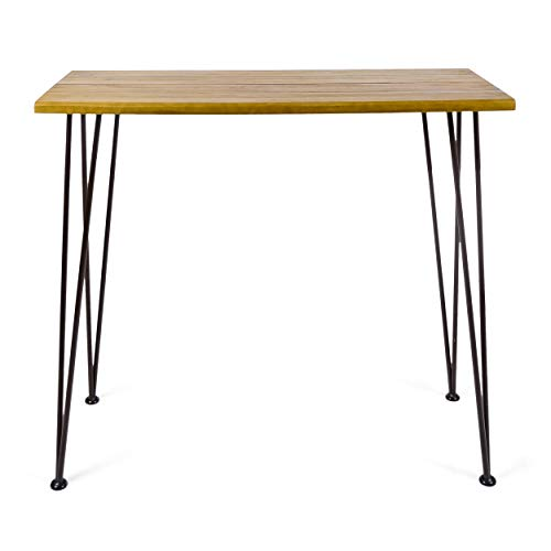 Christopher Knight Home Denali Ouotdoor Industrial Acacia Wood Bar Table with Iron Frame, Teak Finish / Rustic Metal
