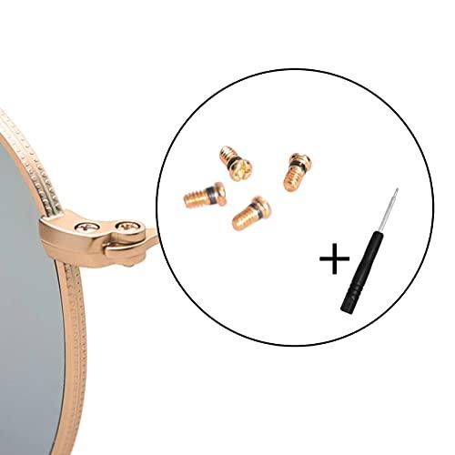 Ray-Ban RB3025 眼鏡用ねじ サングラス用ねじ 修理ツール ネジ ナット (4個セット),ドライバー付き (ゴールド)